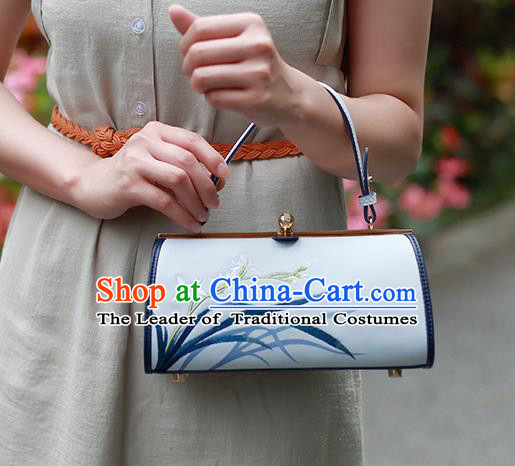 Traditional Handmade Asian Chinese Element Clutch Bags Shoulder Bag Embroidery Orchid National Handbag for Women