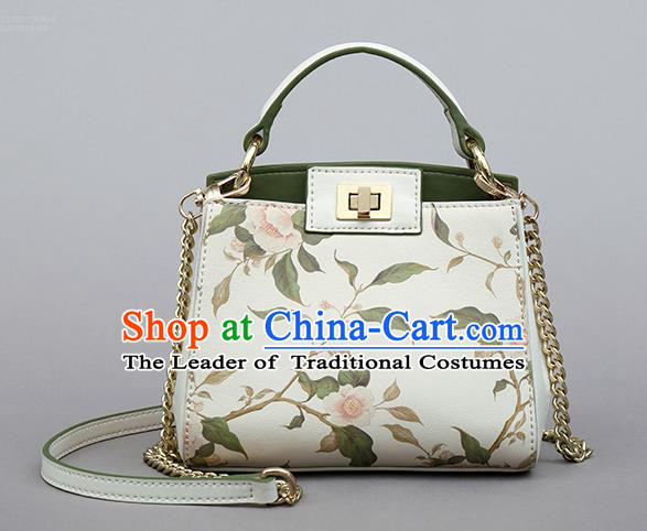 Traditional Handmade Asian Chinese Element Clutch Bags Shoulder Bag Printing Flowers National White Handbag for Women