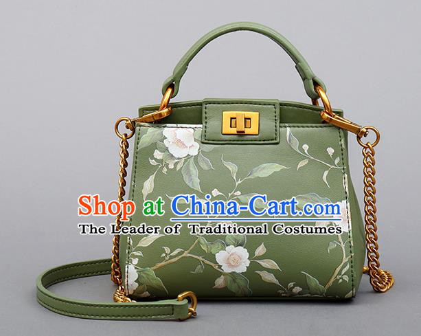 Traditional Handmade Asian Chinese Element Clutch Bags Shoulder Bag Printing Flowers National Green Handbag for Women