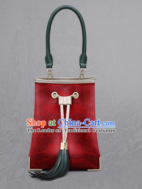 Traditional Handmade Asian Chinese Element Clutch Bucket Bags Shoulder Bag Printing National Red Handbag for Women