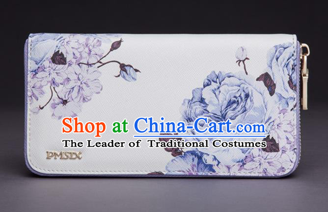 Traditional Handmade Asian Chinese Element Printing Peony Wallet National Handbag White Purse for Women