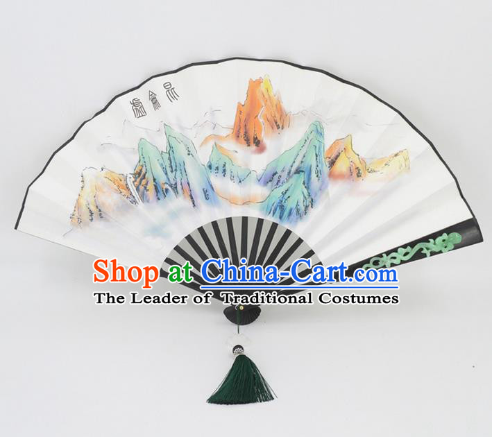 Traditional Chinese Crafts Landscape Painting Folding Fan China Fan Imperial Consort Fans for Women