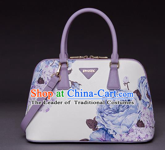 Traditional Handmade Asian Chinese Element Printing Peony Shoulder Bags National White Handbag for Women