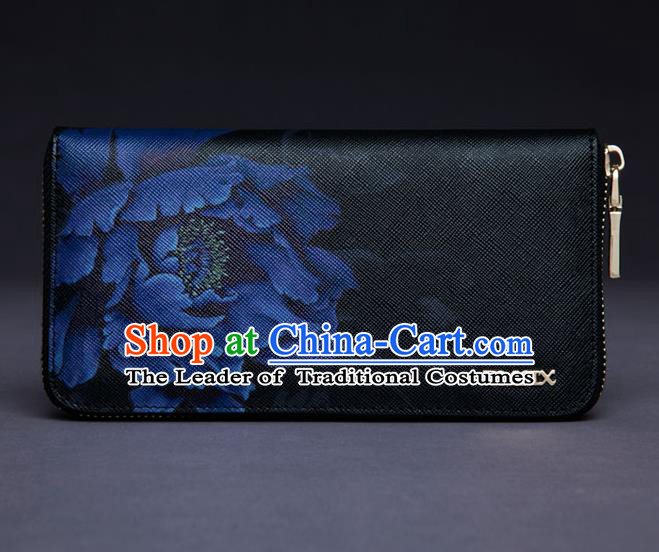 Traditional Handmade Asian Chinese Element Painting Peony Wallet National Handbag Black Purse for Women