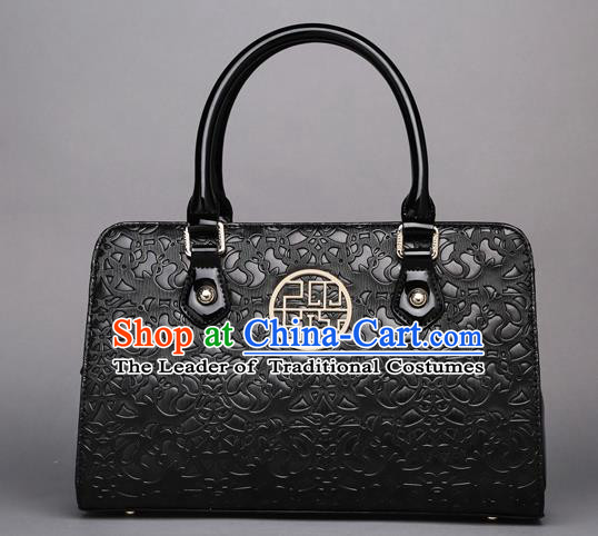 Traditional Handmade Asian Chinese Element Knurling Clutch Bags Shoulder Bag National Black Handbag for Women