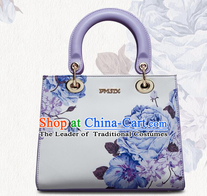 Traditional Handmade Asian Chinese Element Painting Peony Square Clutch Bags National White Handbag for Women