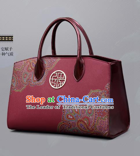 Traditional Handmade Asian Chinese Element Clutch Bags Shoulder Bag National Printing Red Handbag for Women