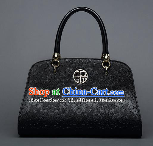 Traditional Handmade Asian Chinese Element Vines Flower Messenger Bags Shoulder Bag National Black Handbag for Women