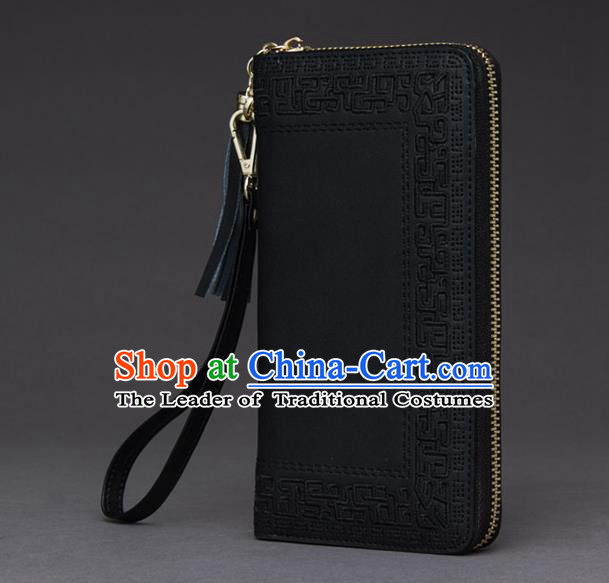 Traditional Handmade Asian Chinese Element Embroidery Wallet National Handbag Black Purse for Women