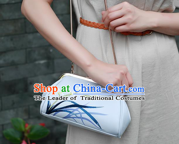 Traditional Handmade Asian Chinese Element Embroidery Orchid Wallet National Evening Dress Handbag Purse for Women