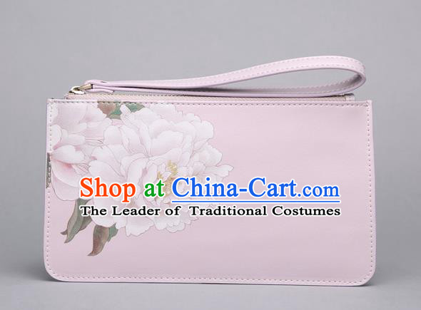 Traditional Handmade Asian Chinese Element Clutch Bags Shoulder Bag National Printing Flowers Pink Handbag for Women