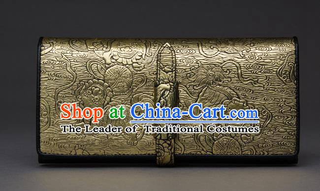 Traditional Handmade Asian Chinese Element Knurling Wallet National Handbag Relief Golden Purse for Women
