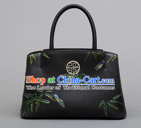 Traditional Handmade Asian Chinese Element Clutch Bags Shoulder Bag Knurling Bamboo Leaves National Handbag for Women