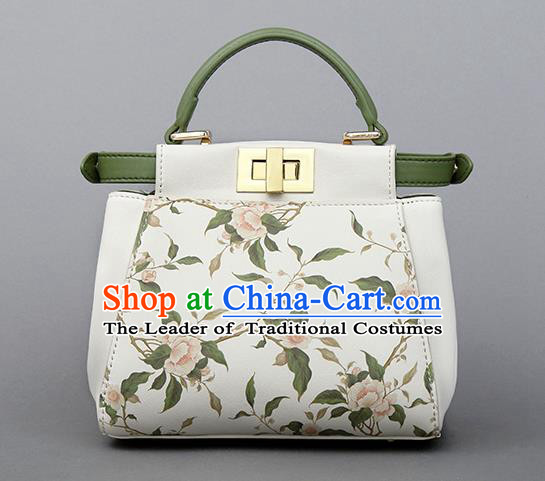 Traditional Handmade Asian Chinese Element Clutch Bags Shoulder Bag National Printing Flowers Evening Dress Handbag for Women