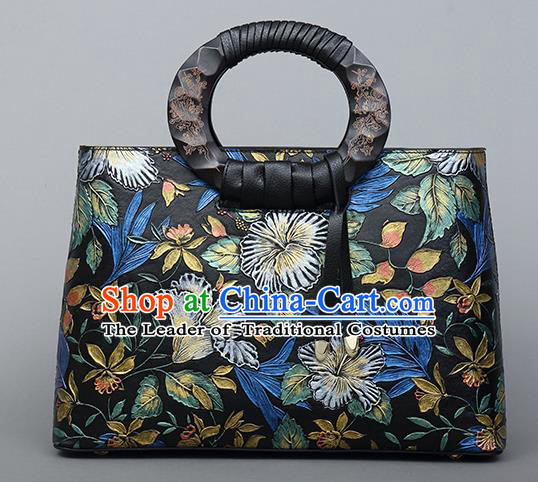 Traditional Handmade Asian Chinese Element Clutch Bags Shoulder Bag National Printing Flowers Evening Dress Leather Handbag for Women