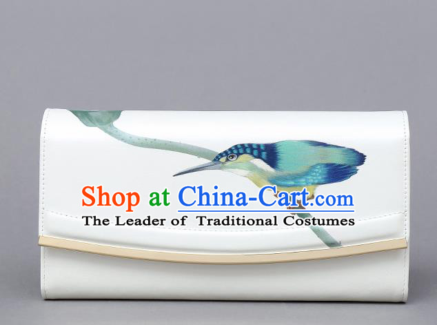 Traditional Handmade Asian Chinese Element Clutch Bags Shoulder Bag National Printing Birds Leather Handbag for Women