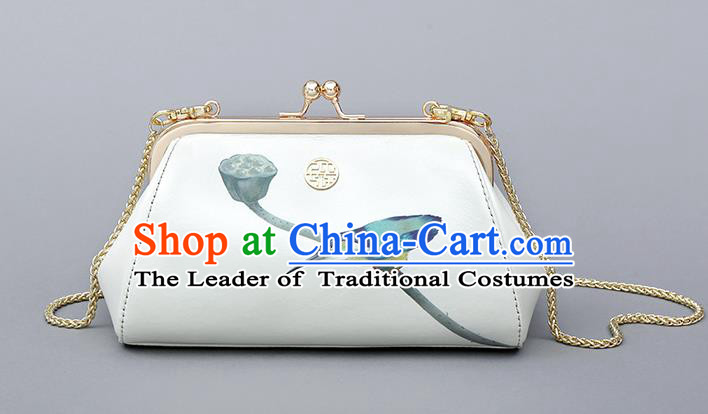 Traditional Handmade Asian Chinese Element Clutch Bags Printing Bird Shoulder Bag National Chain Handbag for Women