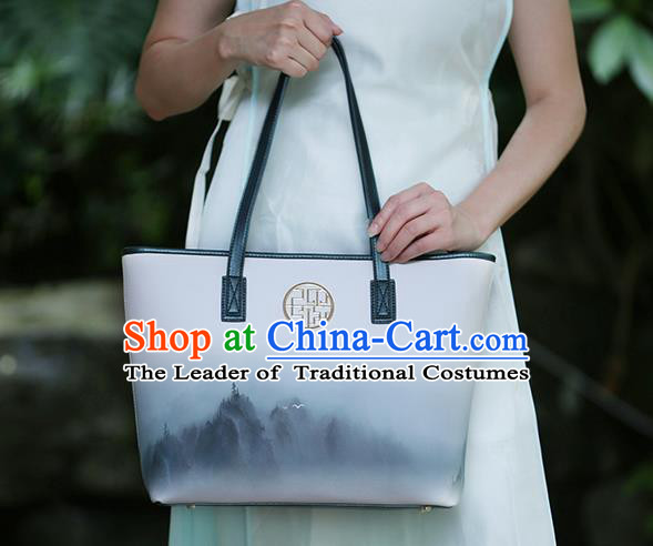 Traditional Handmade Asian Chinese Element Ink Painting Landscape Clutch Bags Shoulder Bag National Leather Handbag for Women
