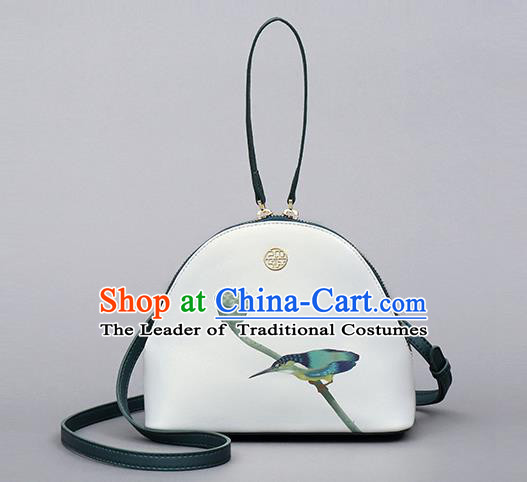 Traditional Handmade Asian Chinese Element Clutch Bags Shoulder Bag National Printing Shell Handbag for Women