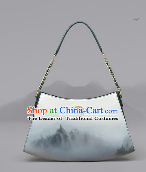 Traditional Handmade Asian Chinese Element Clutch Bags Shoulder Bag National Ink Painting Handbag for Women