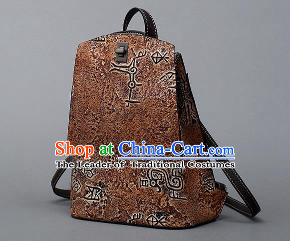 Traditional Handmade Asian Chinese Element Clutch Bags Backpack National Bronze Pattern Brown Leather Handbag for Women