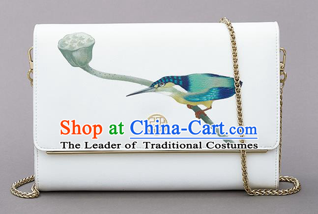 Traditional Handmade Asian Chinese Element Clutch Bags Shoulder Bag National Printing Chain Handbag for Women