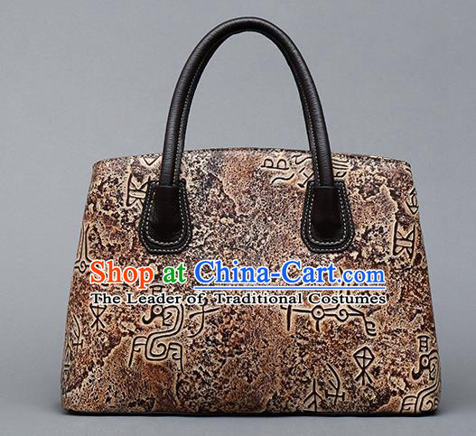 Traditional Handmade Asian Chinese Element Clutch Bags Shoulder Bag National Bronze Pattern Brown Handbag for Women