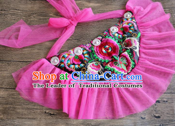 Traditional Handmade Chinese National Embroidery Miao Nationality Waist Pocket Pink Belt for Women