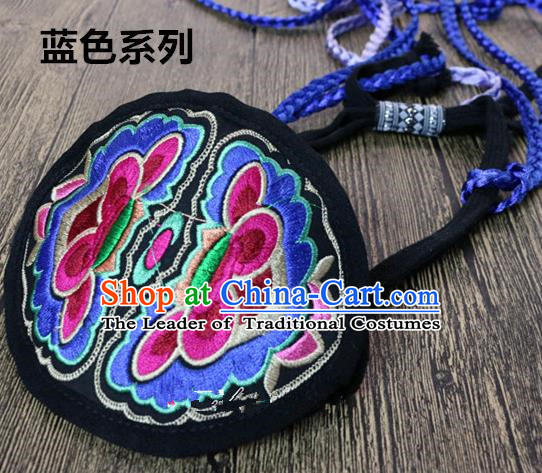 Traditional Handmade Chinese National Embroidery Headwear Miao Nationality Blue Headband for Women