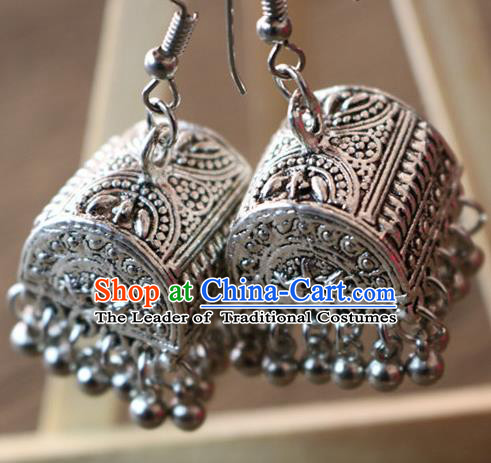 Traditional Handmade Chinese National Miao Nationality Silver Bells Earrings for Women