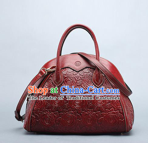 Traditional Handmade Asian Chinese Element Clutch Bags Shoulder Bag National Knurling Red Leather Handbag for Women