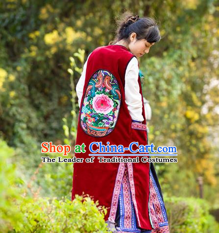 Traditional Chinese National Costume Long Vest, Elegant Hanfu Embroidered Red Cardigan for Women