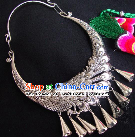 Traditional Handmade Chinese National Miao Nationality Silver Bells Peacock Necklace for Women
