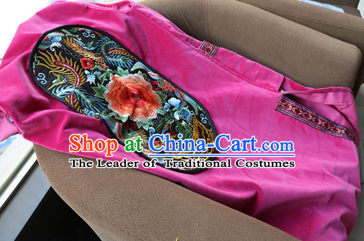 Traditional Chinese National Costume Long Vest, Elegant Hanfu Embroidered Rosy Cardigan for Women