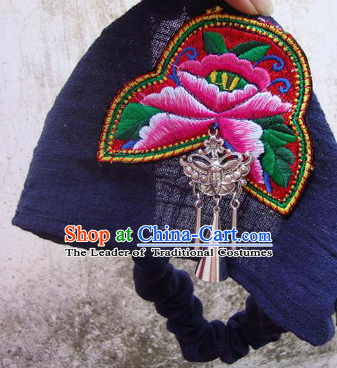 Traditional Handmade Chinese National Embroidery Linen Kerchief Headwear Miao Nationality Headband for Women