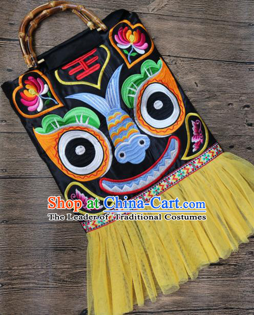 Traditional Handmade Chinese National Embroidery Bamboo Handle Bags Miao Nationality Embroidered Tiger Handbag for Women