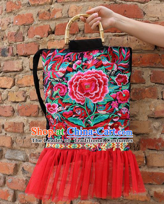 Traditional Handmade Chinese National Embroidery Bamboo Handle Bags Miao Nationality Embroidered Peony Red Handbag for Women
