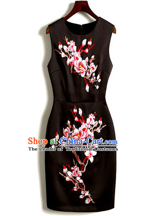 Traditional Chinese National Costume Cheongsam Dress, Elegant Hanfu Tang Suit Embroidered Dress for Women
