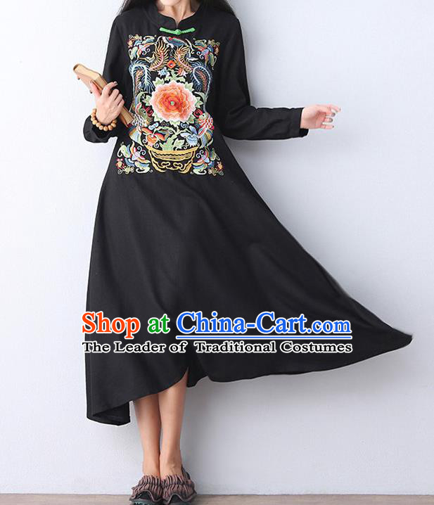 Traditional Chinese National Costume Linen Long Cheongsam Dress, Elegant Hanfu Tang Suit Embroidery Black Dress for Women