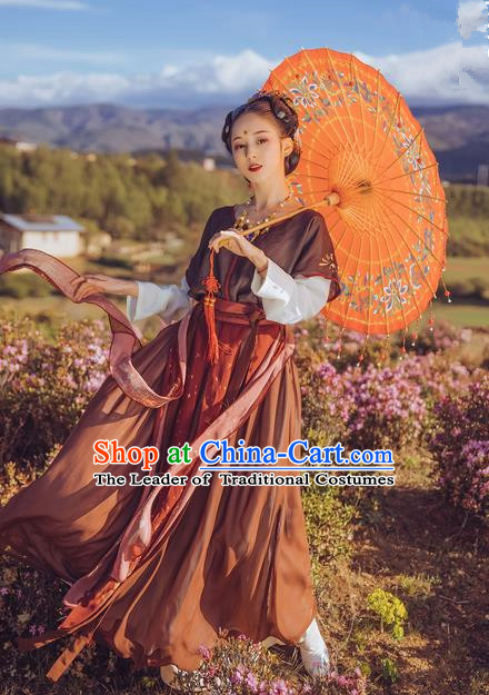 Traditional Ancient Chinese Young Lady Costume Blouse and Skirt Complete Set, Elegant Hanfu Clothing Chinese Song Dynasty Imperial Princess Clothing for Women