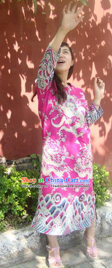 Traditional Chinese National Costume Linen Long Robes, Elegant Hanfu Tang Suit Printing Dragon Pink Dress for Women