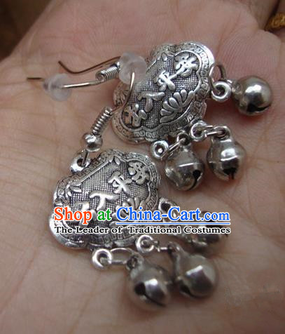 Traditional Handmade Chinese National Miao Nationality Sliver Bells Longevity Lock Earrings for Women