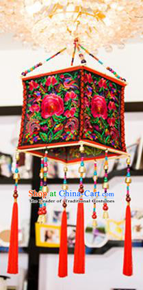 Traditional Handmade Chinese National Lampshade Embroidery Miao Nationality Red Lamp Screen