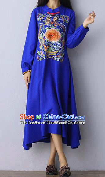 Traditional Chinese National Costume Linen Long Cheongsam Dress, Elegant Hanfu Tang Suit Embroidery Blue Dress for Women