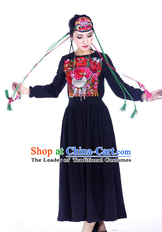 Traditional Chinese National Costume Linen Long Dress, Elegant Hanfu Embroidered Tang Suit Blue Dress for Women