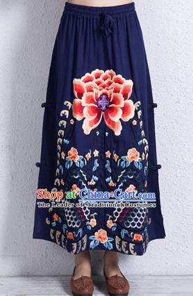 Traditional Chinese National Costume Linen Half Skirt, Elegant Hanfu Embroidered Peony Tang Suit Navy Bust Skirt for Women