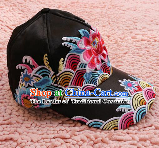 Traditional Handmade Chinese National Embroidery Headwear Miao Nationality Black Cap for Women