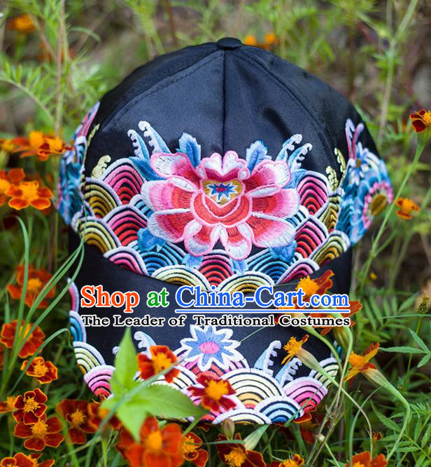 Traditional Ancient Chinese Miao Minority Embroidered Clothing Cheongsam Dress Hair Accessories Headwear for Women