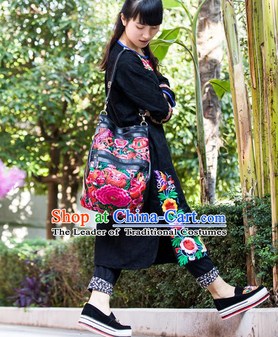 Traditional Handmade Chinese National Shoulder Bags Miao Nationality Embroidery Leather Handbag