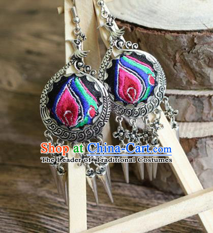 Traditional Handmade Chinese National Miao Nationality Sliver Embroidery Tassel Earrings for Women